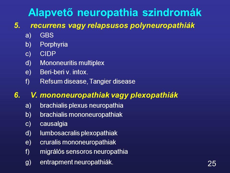 25 Alapvető neuropathia szindromák 5.recurrens vagy relapsusos polyneuropathiák a)GBS b)Porphyria c)CIDP d)Mononeuritis multiplex e)Beri-beri v. intox