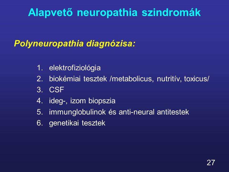 27 Alapvető neuropathia szindromák Polyneuropathia diagnózisa: 1.elektrofiziológia 2.biokémiai tesztek /metabolicus, nutritív, toxicus/ 3.CSF 4.ideg-,