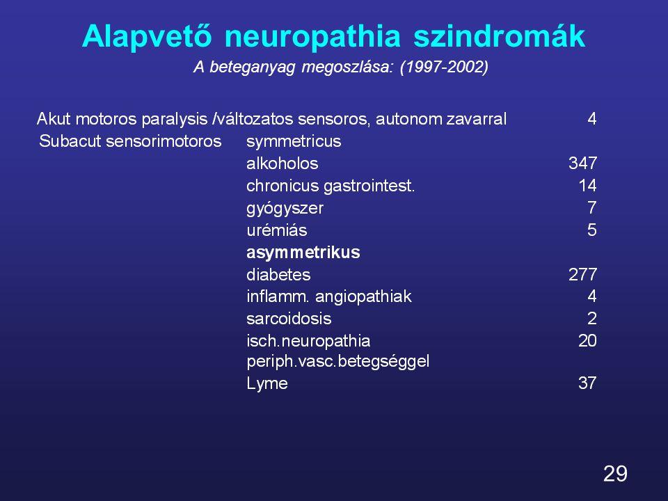 29 Alapvető neuropathia szindromák A beteganyag megoszlása: (1997-2002)