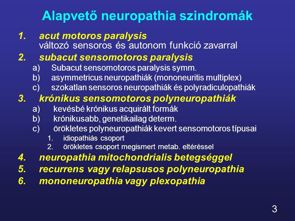 14 Alapvető neuropathia szindromák b)Asymmetricus neuropathiák /mononeuropathia multiplex/ 1)diabetes 2)polyarteritisd nodosa és más inflamm /Churg- Strauss, hypereosinophilia, rheumatoid, lupus,Wegener gr., izolált perif.neur.vasculitis/ 3)kevert cryoglobinemia 4)Sjögren- sicca 5)sarcoidosis 6)ischemiás neuropathia perif.vascularis betegséggel 7)Lyme