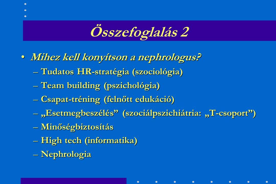 Összefoglalás 1 Konkrét HR-stratégiánk kitűzött célja volt: –a kiégés megelőzése –e célból végeztük tudományos felmérésünket –a nephrologus szakápolók stabil pszichoszociális állapotúak –a nephrologus szakápolók az EuroCare hálózatunkban stabil pszichoszociális állapotúak