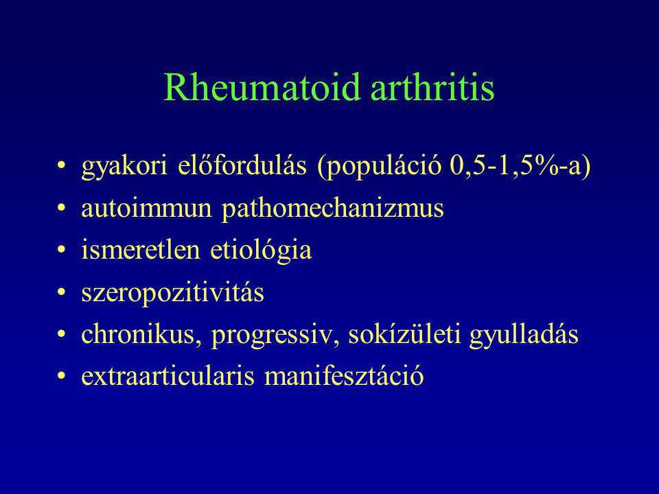 Rheumatoid arthritis gyakori előfordulás (populáció 0,5-1,5%-a) autoimmun pathomechanizmus ismeretlen etiológia szeropozitivitás chronikus, progressiv