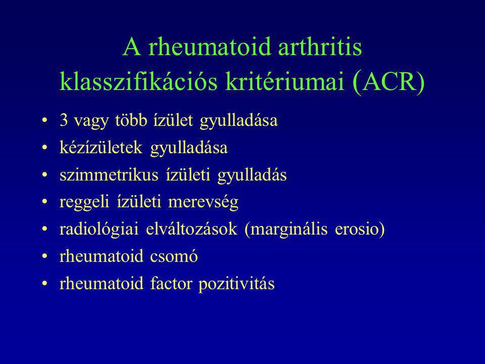 A rheumatoid arthritis klasszifikációs kritériumai ( ACR) 3 vagy több ízület gyulladása kézízületek gyulladása szimmetrikus ízületi gyulladás reggeli