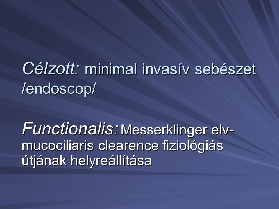 Célzott: minimal invasív sebészet /endoscop/ Functionalis: Messerklinger elv- mucociliaris clearence fiziológiás útjának helyreállítása