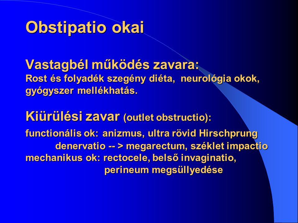 Obstipatio okai Vastagbél működés zavara: Rost és folyadék szegény diéta, neurológia okok, gyógyszer mellékhatás. Kiürülési zavar (outlet obstructio):