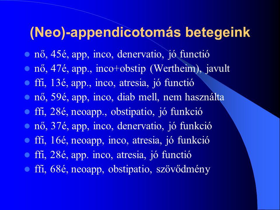 (Neo)-appendicotomás betegeink nő, 45é, app, inco, denervatio, jó functió nő, 47é, app., inco+obstip (Wertheim), javult ffi, 13é, app., inco, atresia,