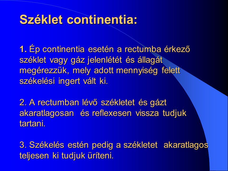 Széklet continentia: 1. Ép continentia esetén a rectumba érkező széklet vagy gáz jelenlétét és állagát megérezzük, mely adott mennyiség felett székelé