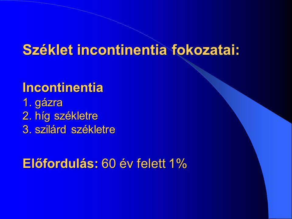 Széklet incontinentia fokozatai: Incontinentia 1. gázra 2. híg székletre 3. szilárd székletre Előfordulás: 60 év felett 1%