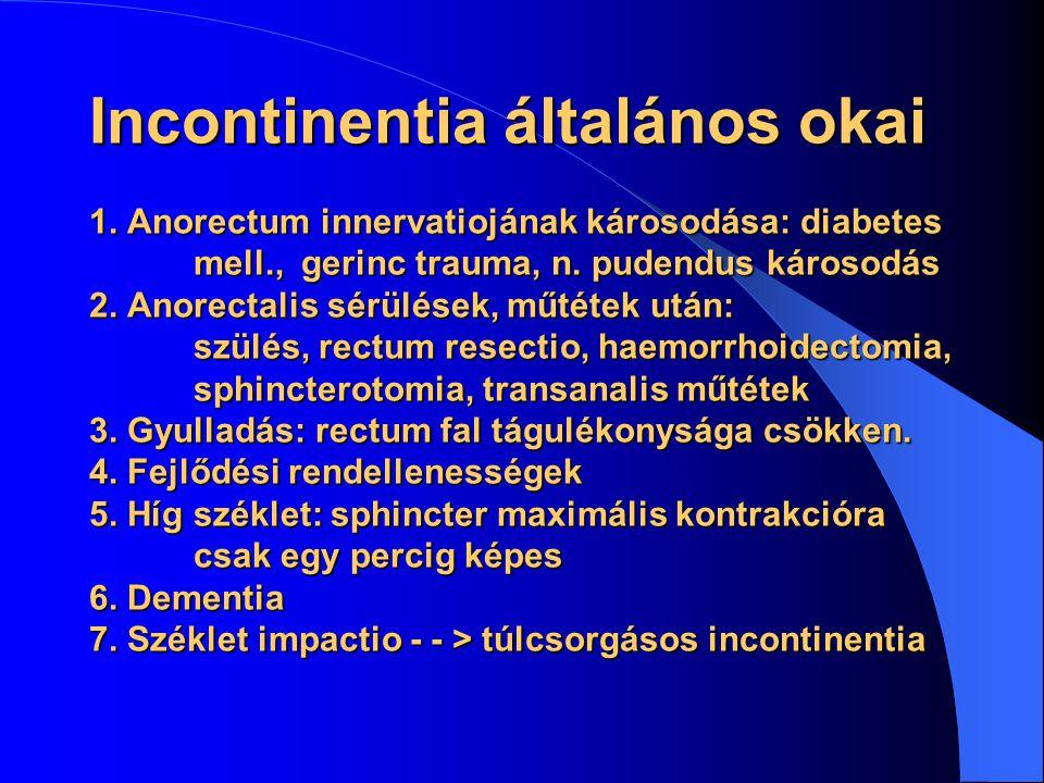 Incontinentia általános okai 1. Anorectum innervatiojának károsodása: diabetes mell., gerinc trauma, n. pudendus károsodás 2. Anorectalis sérülések, m