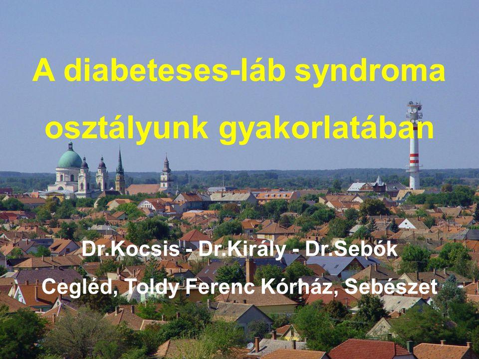 A diabeteses-láb syndroma osztályunk gyakorlatában Dr.Kocsis - Dr.Király - Dr.Sebók Cegléd, Toldy Ferenc Kórház, Sebészet