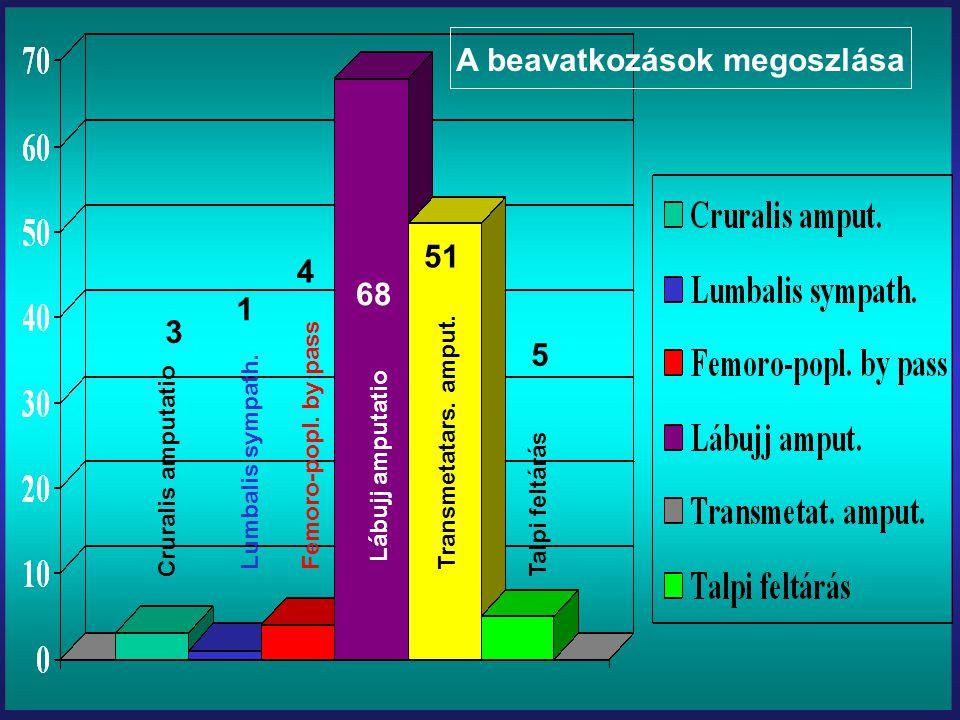 Cruralis amputatio Lumbalis sympath. Femoro-popl. by pass Lábujj amputatio Transmetatars. amput. Talpi feltárás 3 1 4 68 51 5 A beavatkozások megoszlá