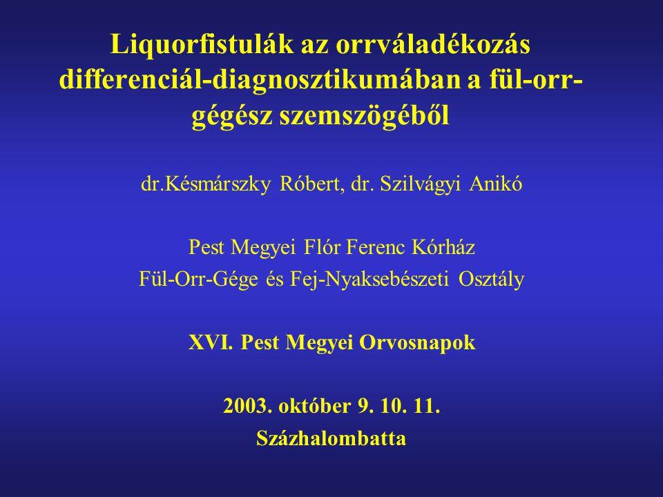 Liquorfistulák az orrváladékozás differenciál-diagnosztikumában a fül-orr- gégész szemszögéből dr.Késmárszky Róbert, dr. Szilvágyi Anikó Pest Megyei F