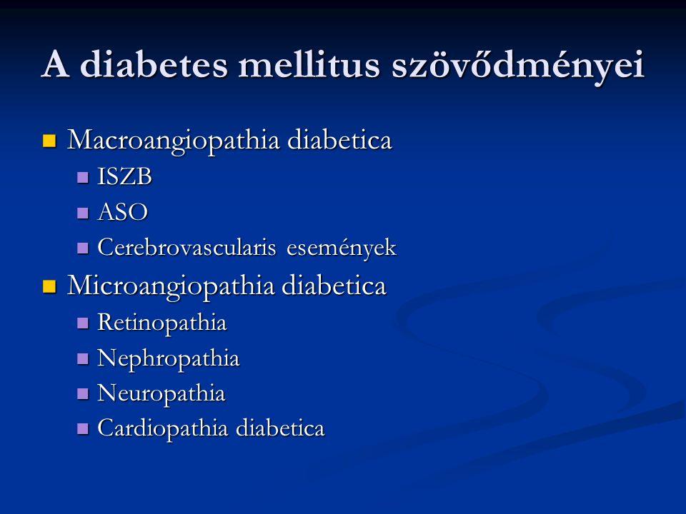 A diabetes mellitus szövődményei Macroangiopathia diabetica Macroangiopathia diabetica ISZB ISZB ASO ASO Cerebrovascularis események Cerebrovascularis