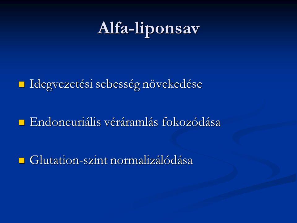 Alfa-liponsav Idegvezetési sebesség növekedése Idegvezetési sebesség növekedése Endoneuriális véráramlás fokozódása Endoneuriális véráramlás fokozódás