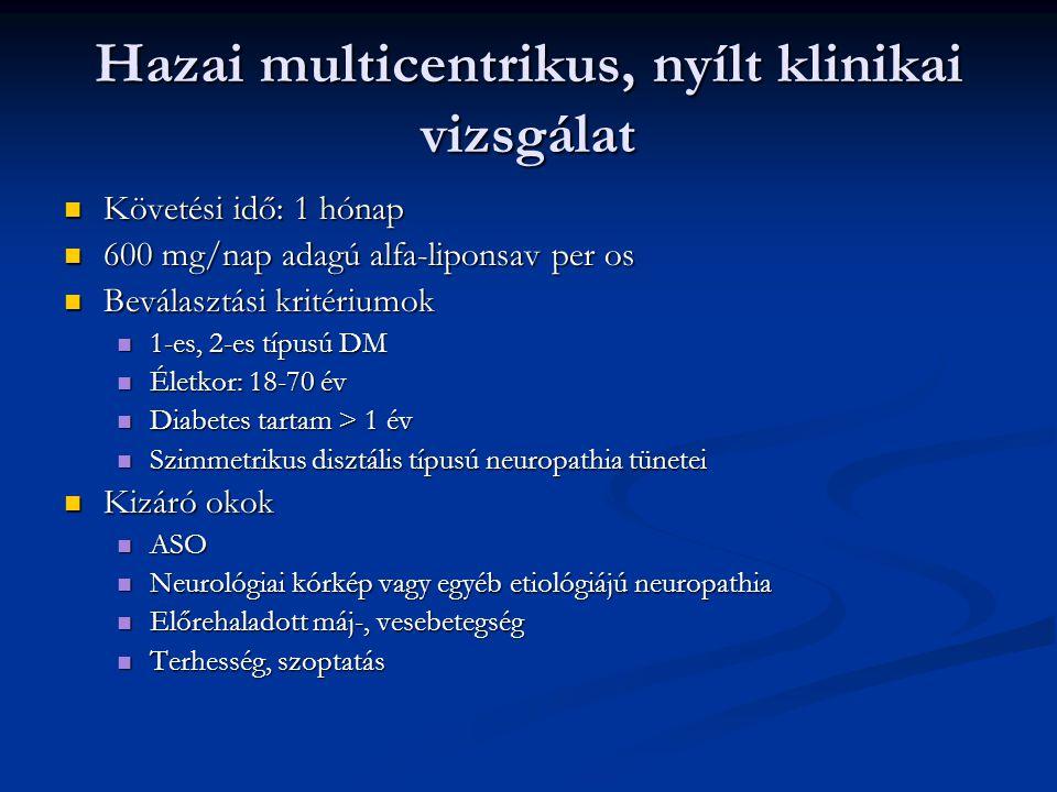 Hazai multicentrikus, nyílt klinikai vizsgálat Követési idő: 1 hónap Követési idő: 1 hónap 600 mg/nap adagú alfa-liponsav per os 600 mg/nap adagú alfa