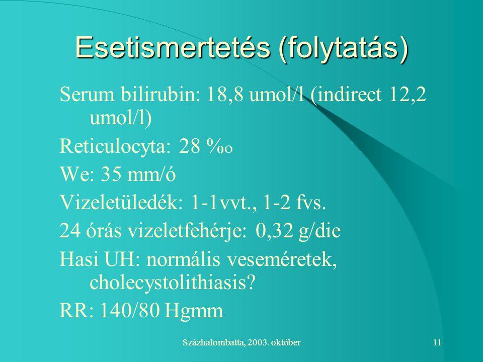 Százhalombatta, 2003. október11 Esetismertetés (folytatás) Serum bilirubin: 18,8 umol/l (indirect 12,2 umol/l) Reticulocyta: 28   We: 35 mm/ó Vizel