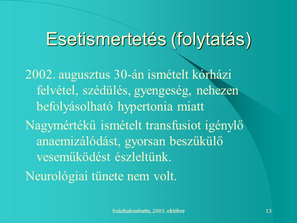 Százhalombatta, 2003. október13 Esetismertetés (folytatás) 2002. augusztus 30-án ismételt kórházi felvétel, szédülés, gyengeség, nehezen befolyásolhat