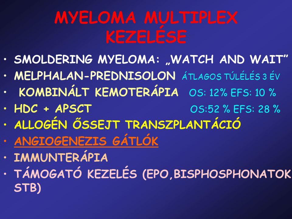 """MYELOMA MULTIPLEX KEZELÉSE SMOLDERING MYELOMA: """"WATCH AND WAIT"""" MELPHALAN-PREDNISOLON ÁTLAGOS TÚLÉLÉS 3 ÉV KOMBINÁLT KEMOTERÁPIA OS: 12% EFS: 10 % HDC"""