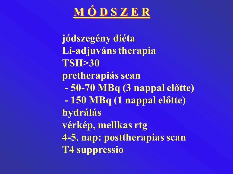 M Ó D S Z E R jódszegény diéta Li-adjuváns therapia TSH>30 pretherapiás scan - 50-70 MBq (3 nappal előtte) - 150 MBq (1 nappal előtte) hydrálás vérkép