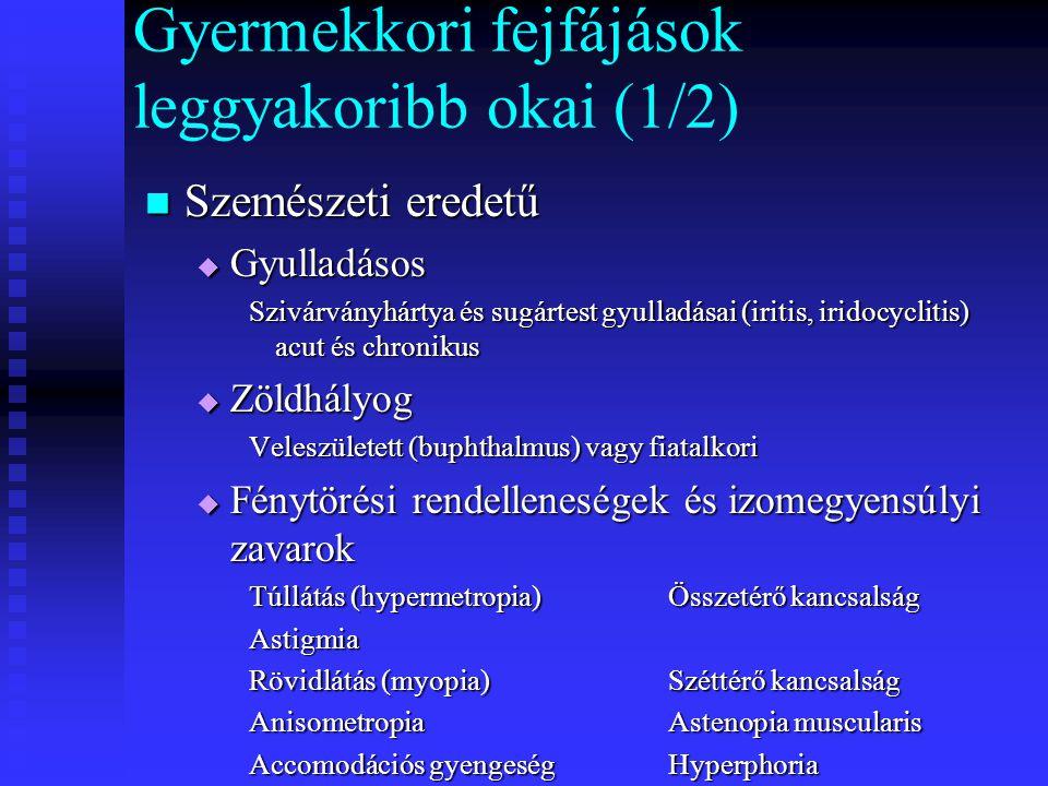 Gyermekkori fejfájások leggyakoribb okai (1/2) Szemészeti eredetű Szemészeti eredetű  Gyulladásos Szivárványhártya és sugártest gyulladásai (iritis,