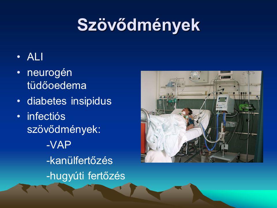 Szövődmények ALI neurogén tüdőoedema diabetes insipidus infectiós szövődmények: -VAP -kanülfertőzés -hugyúti fertőzés