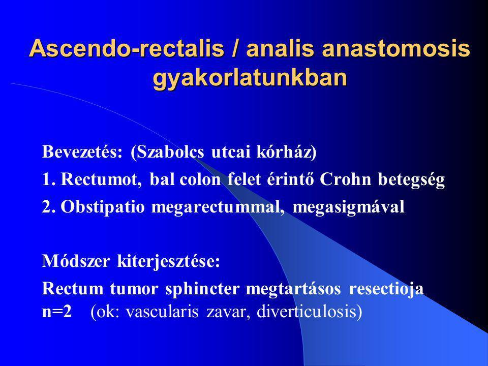Ascendo-rectalis / analis anastomosis gyakorlatunkban Bevezetés: (Szabolcs utcai kórház) 1. Rectumot, bal colon felet érintő Crohn betegség 2. Obstipa