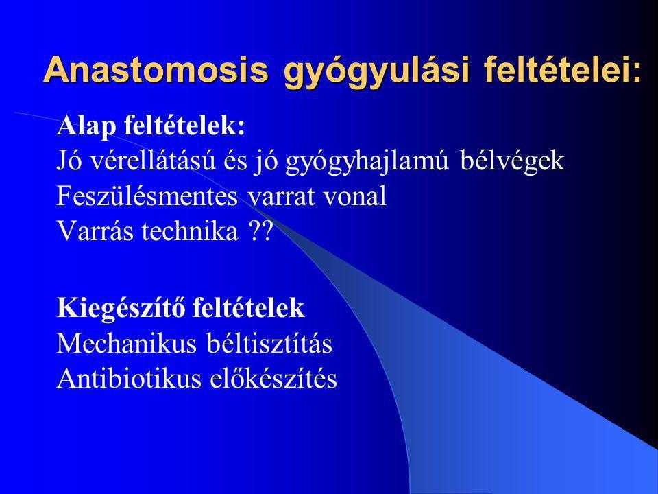 Anastomosis gyógyulási feltételei: Alap feltételek: Jó vérellátású és jó gyógyhajlamú bélvégek Feszülésmentes varrat vonal Varrás technika ?? Kiegészí