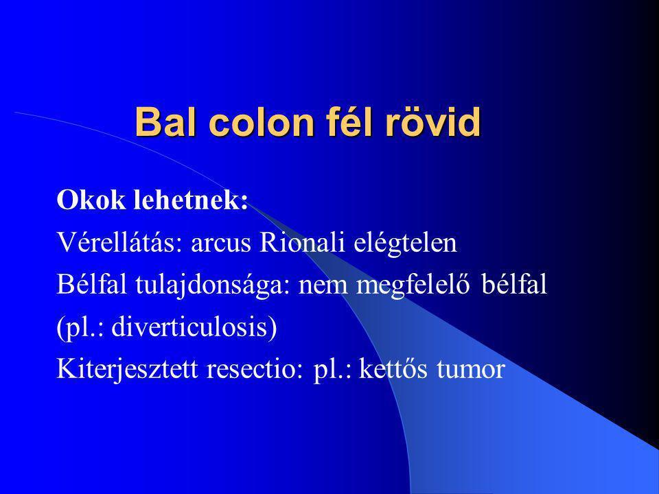 Bal colon fél rövid Okok lehetnek: Vérellátás: arcus Rionali elégtelen Bélfal tulajdonsága: nem megfelelő bélfal (pl.: diverticulosis) Kiterjesztett resectio: pl.: kettős tumor