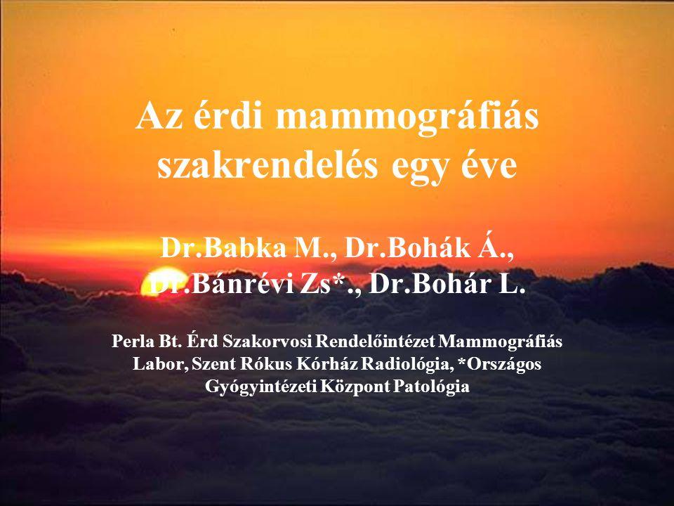 Az érdi mammográfiás szakrendelés egy éve Dr.Babka M., Dr.Bohák Á., Dr.Bánrévi Zs*., Dr.Bohár L. Perla Bt. Érd Szakorvosi Rendelőintézet Mammográfiás