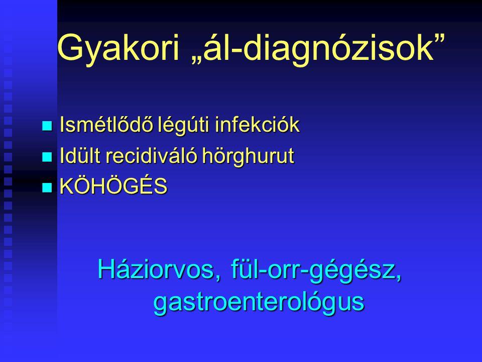 """Gyakori """"ál-diagnózisok Ismétlődő légúti infekciók Ismétlődő légúti infekciók Idült recidiváló hörghurut Idült recidiváló hörghurut KÖHÖGÉS KÖHÖGÉS Háziorvos, fül-orr-gégész, gastroenterológus"""