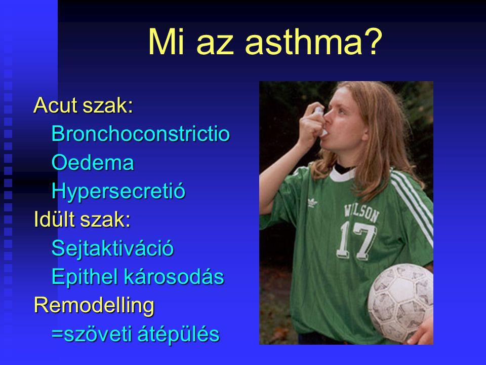 Mi az asthma? Acut szak: Bronchoconstrictio Bronchoconstrictio Oedema Oedema Hypersecretió Hypersecretió Idült szak: Sejtaktiváció Sejtaktiváció Epith