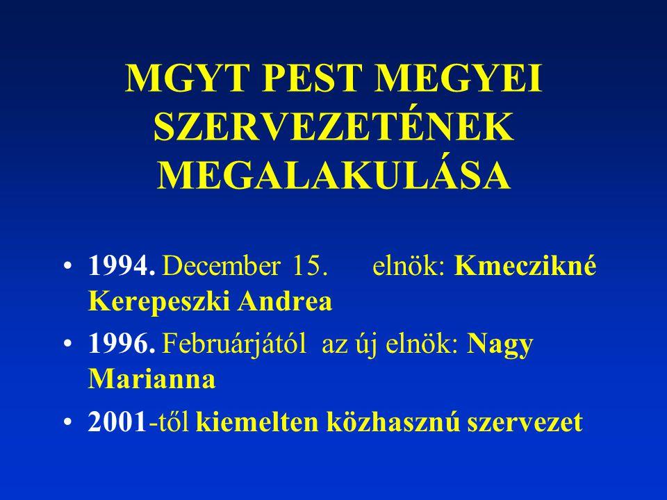 MGYT PEST MEGYEI SZERVEZETÉNEK MEGALAKULÁSA 1994. December 15. elnök: Kmeczikné Kerepeszki Andrea 1996. Februárjától az új elnök: Nagy Marianna 2001-t