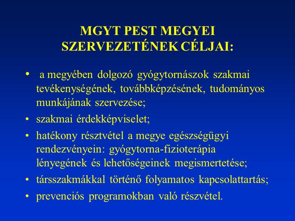 MGYT PEST MEGYEI SZERVEZETÉNEK CÉLJAI: a megyében dolgozó gyógytornászok szakmai tevékenységének, továbbképzésének, tudományos munkájának szervezése;