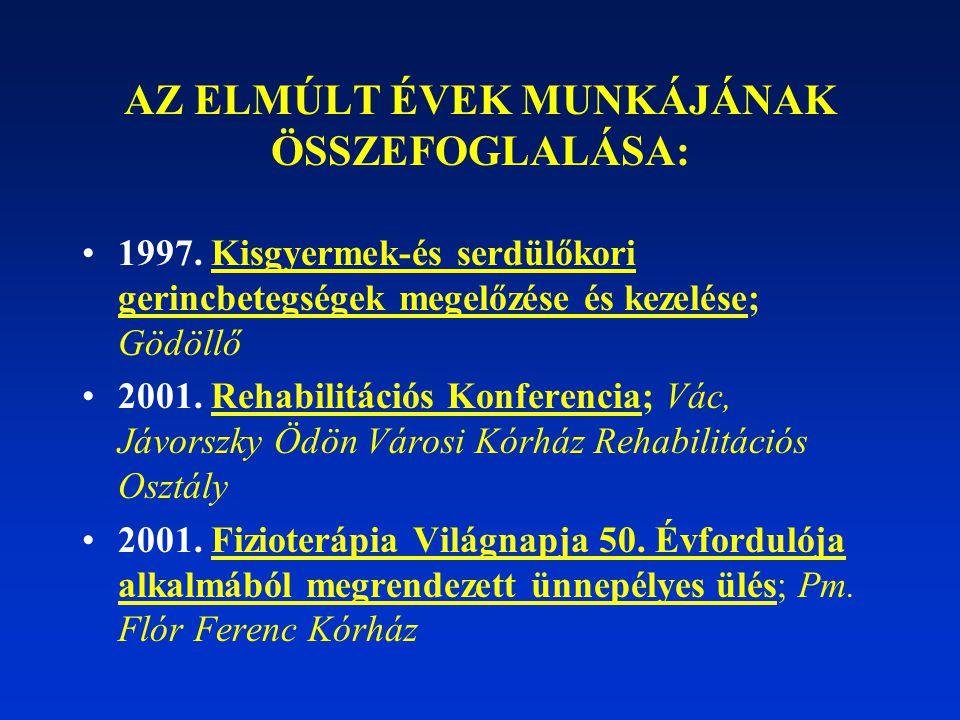 AZ ELMÚLT ÉVEK MUNKÁJÁNAK ÖSSZEFOGLALÁSA: 1997. Kisgyermek-és serdülőkori gerincbetegségek megelőzése és kezelése; Gödöllő 2001. Rehabilitációs Konfer