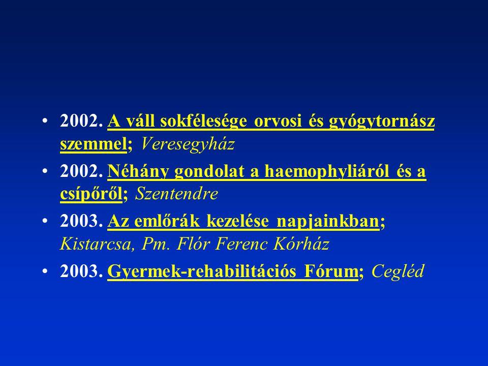 2002. A váll sokfélesége orvosi és gyógytornász szemmel; Veresegyház 2002. Néhány gondolat a haemophyliáról és a csípőről; Szentendre 2003. Az emlőrák