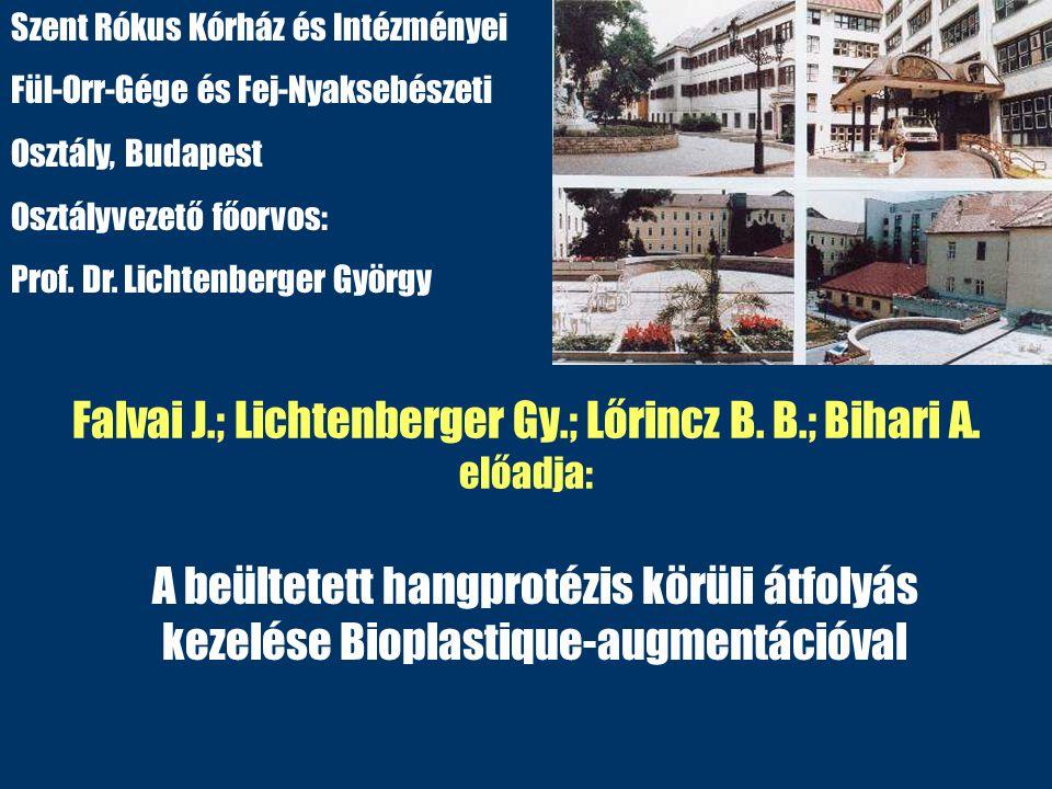 Falvai J.; Lichtenberger Gy.; Lőrincz B. B.; Bihari A. előadja: A beültetett hangprotézis körüli átfolyás kezelése Bioplastique-augmentációval Szent R