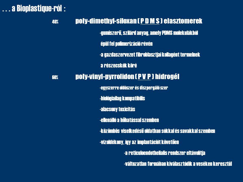 ... a Bioplastique-ról : 40% poly-dimethyl-siloxan ( P D M S ) elasztomerek -gumiszerű, szilárd anyag, amely PDMS molekulákból épül fel polimerizáció