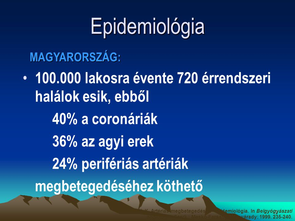 3 Epidemiológia 100.000 lakosra évente 720 érrendszeri halálok esik, ebből 40% a coronáriák 36% az agyi erek 24% perifériás artériák megbetegedéséhez köthető MAGYARORSZÁG: Tóth K.