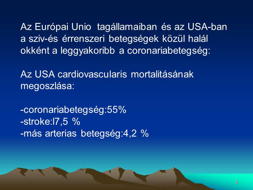 5 Az Európai Unio tagállamaiban és az USA-ban a sziv-és érrenszeri betegségek közül halál okként a leggyakoribb a coronariabetegség: Az USA cardiovascularis mortalitásának megoszlása: -coronariabetegség:55% -stroke:l7,5 % -más arterias betegség:4,2 %