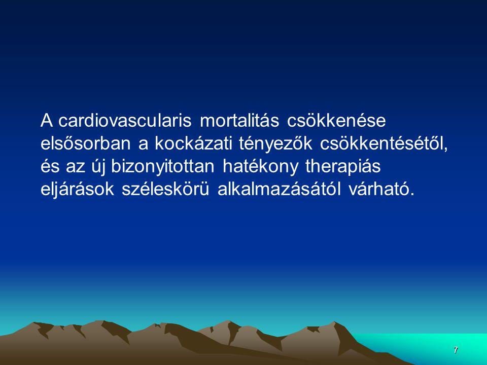 7 A cardiovascularis mortalitás csökkenése elsősorban a kockázati tényezők csökkentésétől, és az új bizonyitottan hatékony therapiás eljárások széleskörü alkalmazásától várható.