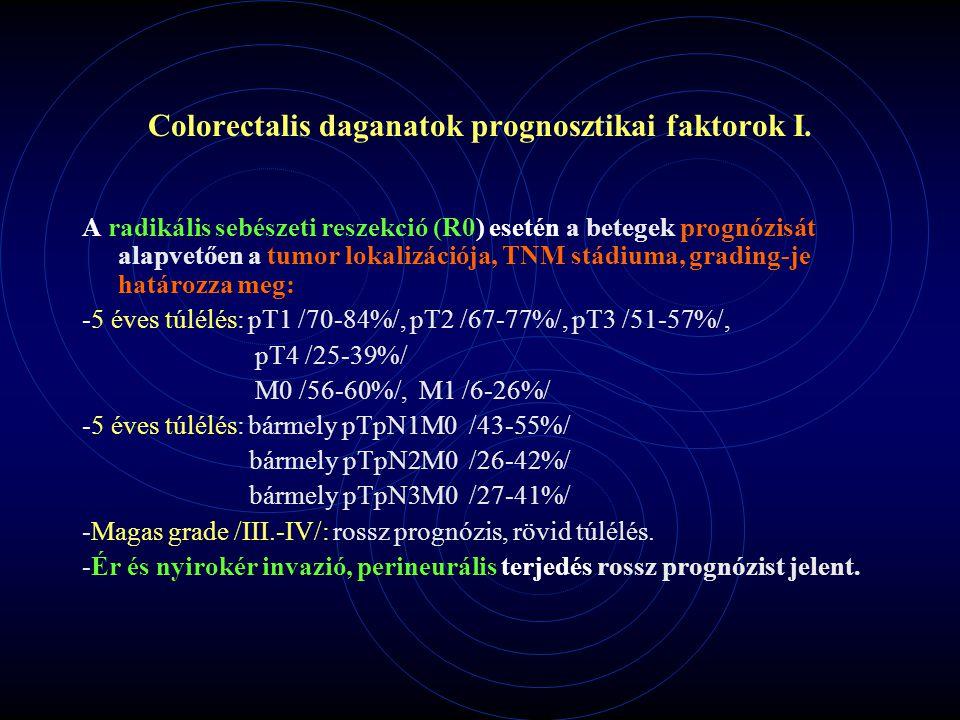 Colorectalis daganatok prognosztikai faktorok I. A radikális sebészeti reszekció (R0) esetén a betegek prognózisát alapvetően a tumor lokalizációja, T