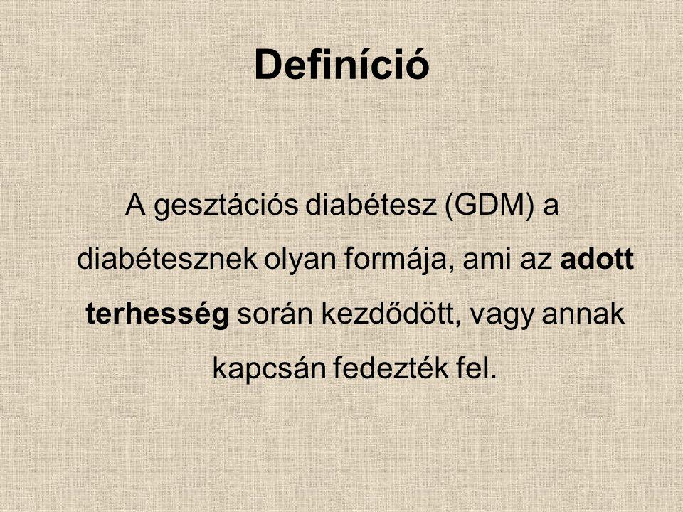 Definíció A gesztációs diabétesz (GDM) a diabétesznek olyan formája, ami az adott terhesség során kezdődött, vagy annak kapcsán fedezték fel.
