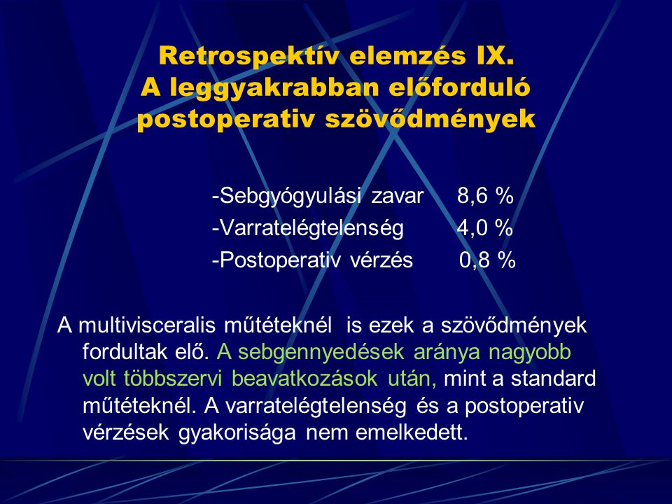 Retrospektív elemzés IX. A leggyakrabban előforduló postoperativ szövődmények -Sebgyógyulási zavar 8,6 % -Varratelégtelenség 4,0 % -Postoperativ vérzé