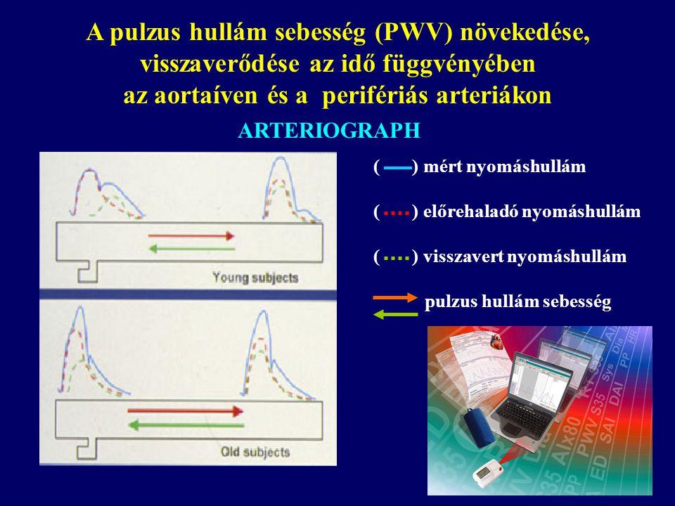 A pulzus hullám sebesség (PWV) növekedése, visszaverődése az idő függvényében az aortaíven és a perifériás arteriákon ( ) mért nyomáshullám ( ) előrehaladó nyomáshullám ( ) visszavert nyomáshullám pulzus hullám sebesség ARTERIOGRAPH