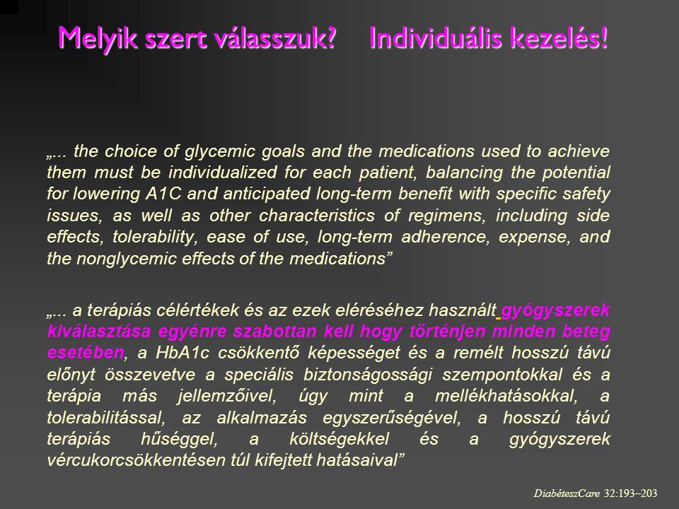 """Melyik szert válasszuk? Individuális kezelés! Melyik szert válasszuk? Individuális kezelés! """"... the choice of glycemic goals and the medications used"""