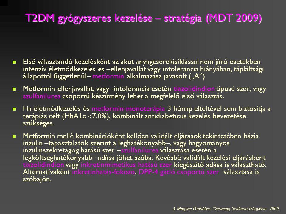 T2DM gyógyszeres kezelése – stratégia (MDT 2009) Első választandó kezelésként az akut anyagcserekisiklással nem járó esetekben intenzív életmódkezelés