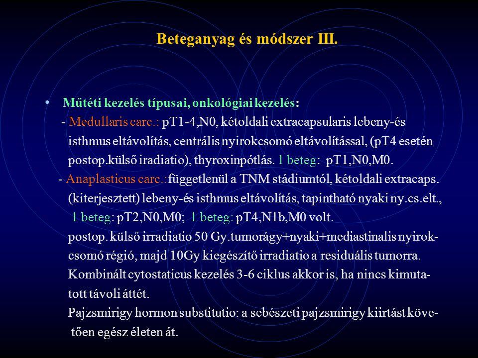 Beteganyag és módszer III. Műtéti kezelés típusai, onkológiai kezelés: - Medullaris carc.: pT1-4,N0, kétoldali extracapsularis lebeny-és isthmus eltáv