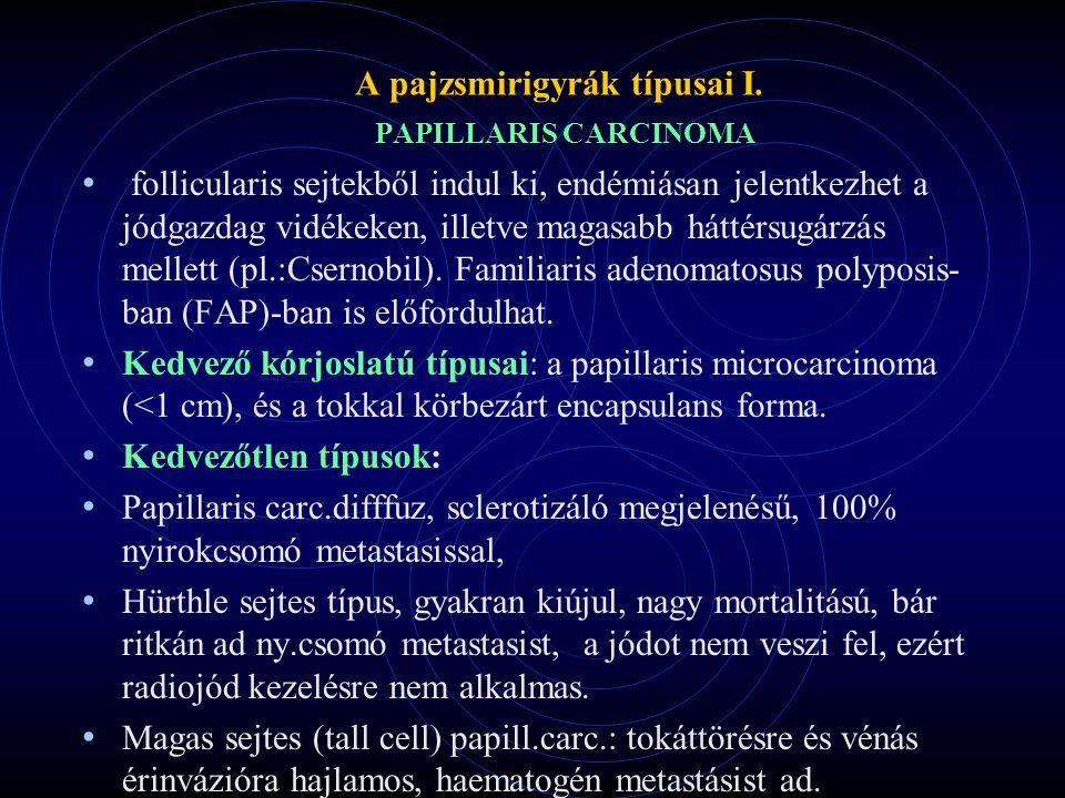 A pajzsmirigyrák típusai I. PAPILLARIS CARCINOMA follicularis sejtekből indul ki, endémiásan jelentkezhet a jódgazdag vidékeken, illetve magasabb hátt
