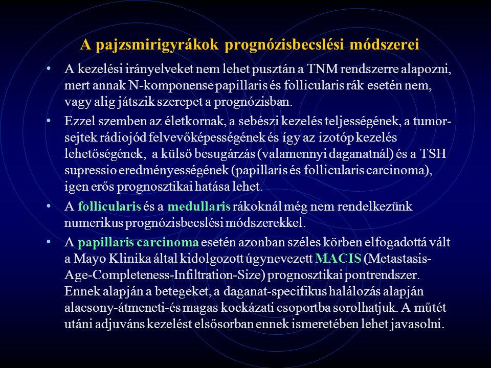 A pajzsmirigyrákok prognózisbecslési módszerei A kezelési irányelveket nem lehet pusztán a TNM rendszerre alapozni, mert annak N-komponense papillaris és follicularis rák esetén nem, vagy alig játszik szerepet a prognózisban.