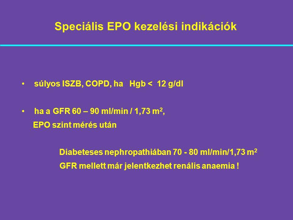 Speciális EPO kezelési indikációk súlyos ISZB, COPD, ha Hgb < 12 g/dl ha a GFR 60 – 90 ml/min / 1,73 m 2, EPO szint mérés után Diabeteses nephropathiá
